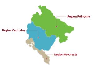 Mapa przedstawiająca 3 strefy klimatyczne w Czarnogórze.