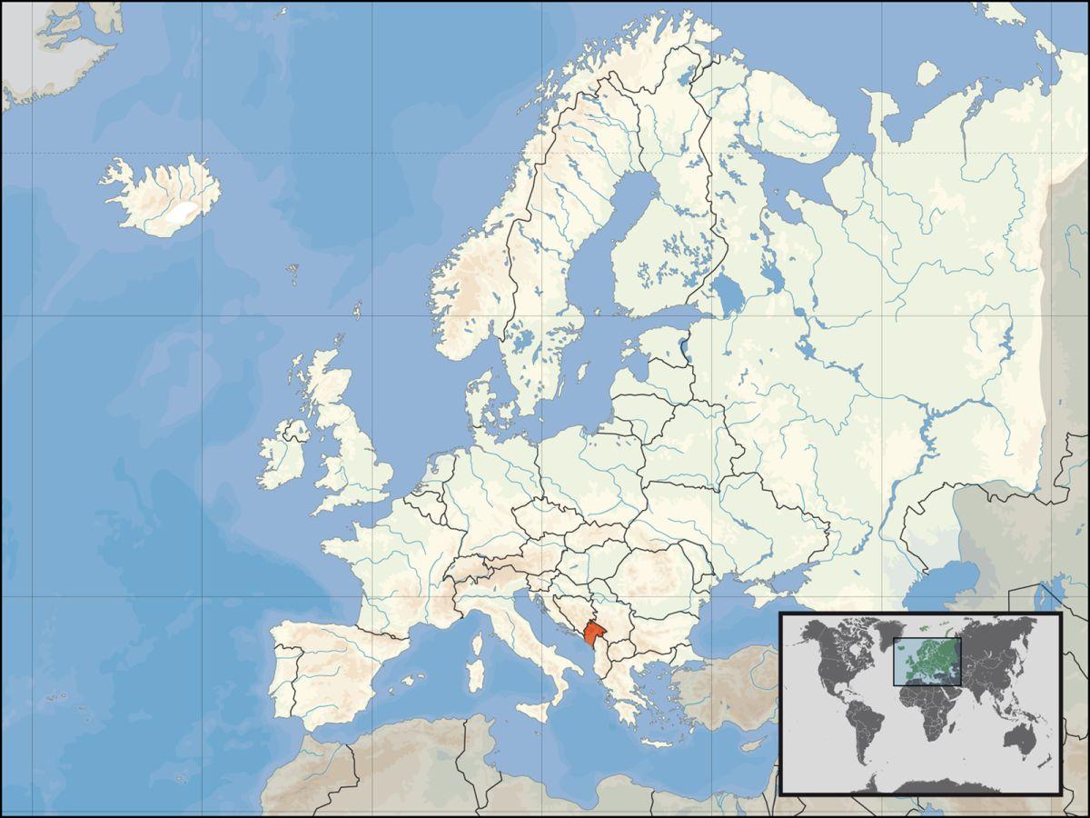 Położenie Czarnogóry na tle Europy.