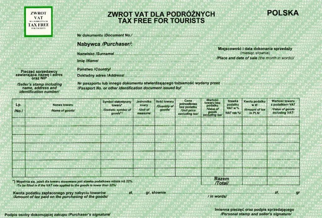 Przykładowy formularz do zwrotu podatku VAT z podroży.