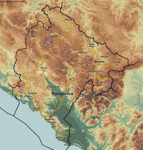 Mapa przedstawiająca ukształtowanie terenu Czarnogóry.