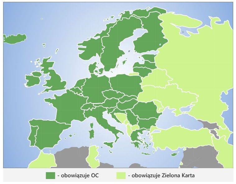 Mapa z zaznaczonymi krajami, gdzie obowiązuje zielona karta, a gdzie wystarczy OC.