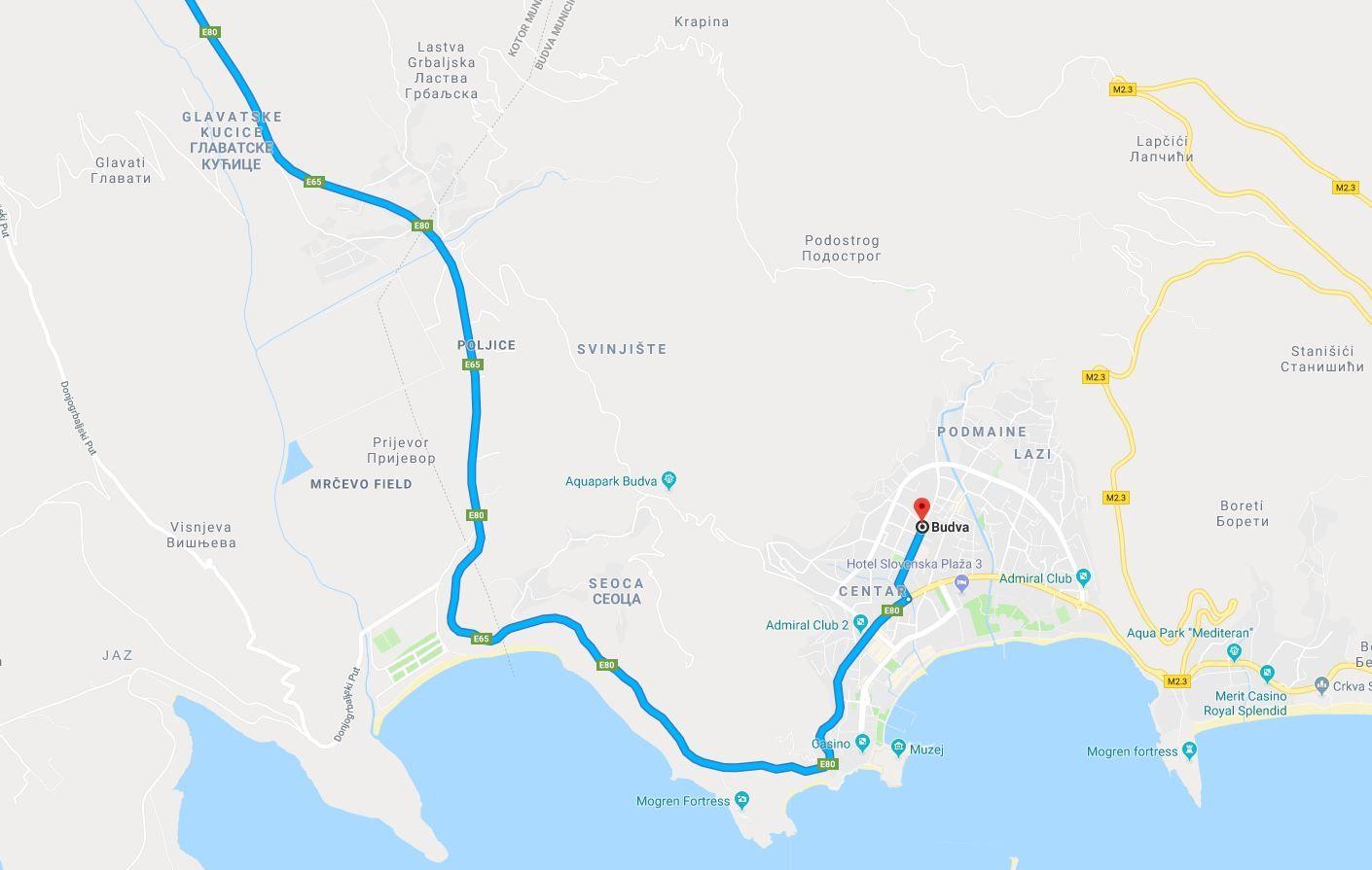 Głowna droga do Budvy