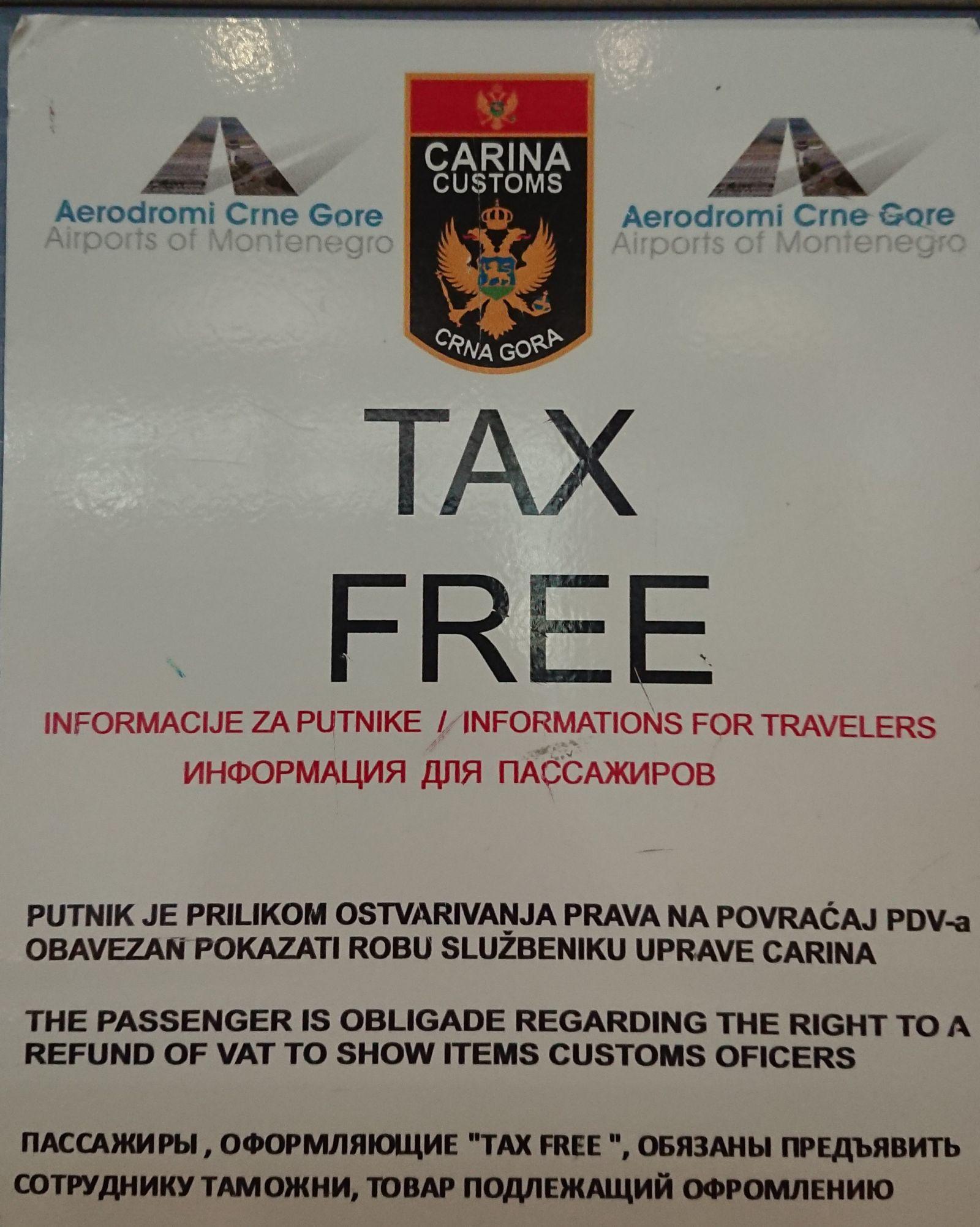 Zakupy z mniejszym podatkiem VAT w Czarnogórze.