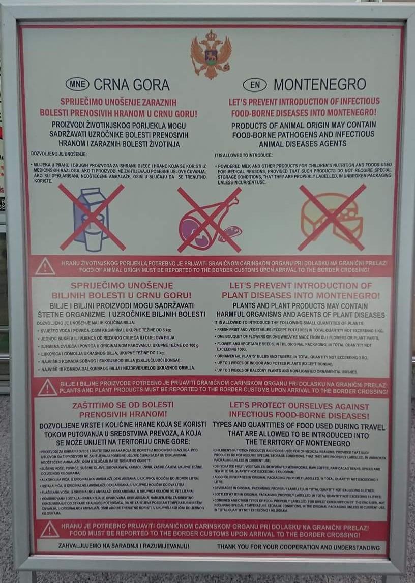 Informacja o zakazie wwożenia produktów zwierzęcych z krajów spoza UE z lotniska w Czarnogórze.