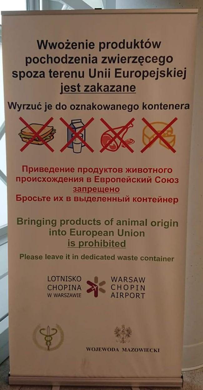 Informacja o zakazie wwożenia produktów zwierzęcych z krajów spoza UE z lotniska w Polsce.