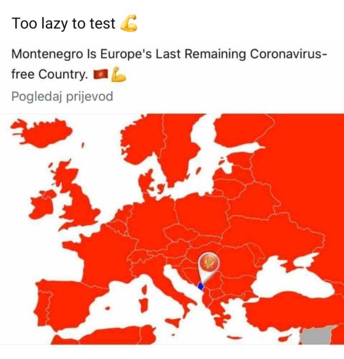 Czarnogórskie poczucie humoru w czasach korona wirusa.
