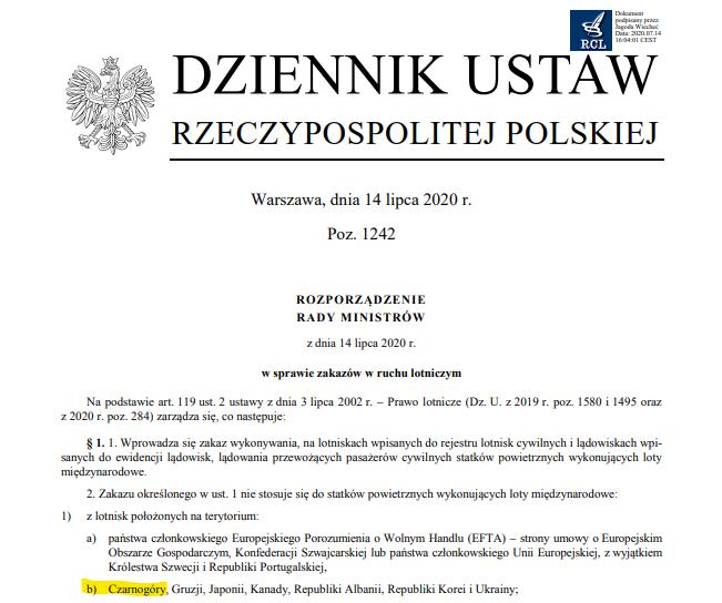 Rozporządzenie Rady Ministrów z 14 lipca.